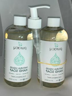 PURACY~Natural Liquid Hand Soap w/Pump~Cucumber & Mint~12 f