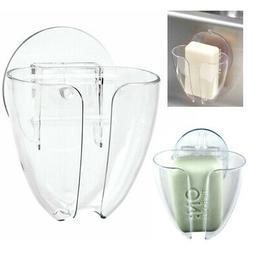 2 Soap Dish Suction Wall Holder Bathroom Shower Cup Sponge D
