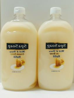 2 Spa Soap Liquid Hand Soap Milk & Honey HUGE Refill Bottles