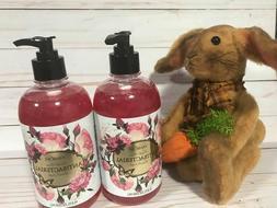 2 X PANROSA LIQUID HAND SOAP, FRESH ROSE SCENTED bottles w/