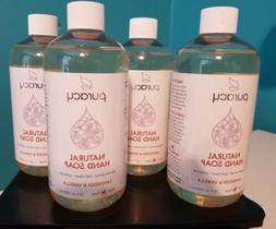 4 Bottles Puracy Natural Hand Soap Lavender & Vanilla 12 oz