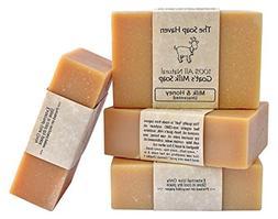 4 Goat Milk Soap Bars with Honey - Handmade in USA. All Natu