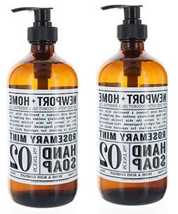 2 Bottles, Newport + Home Hand Soap, Rosemary Mint 16 oz, In