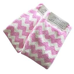 Set of 2, Pink Chevron Face Towel Baby Washcloths, Nursery R