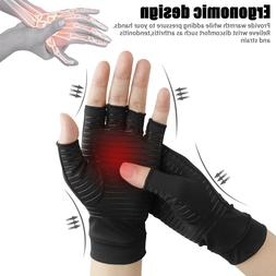 Pair Copper Arthritis Compression Gloves Carpal Tunnel Hand