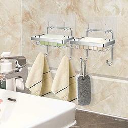 2 Pack Soap Dish Sponge Holder with Hooks for Shower Bathroo