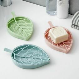 Double Layer Soap Dish Holder Portable Leaf Shape Drains Pla