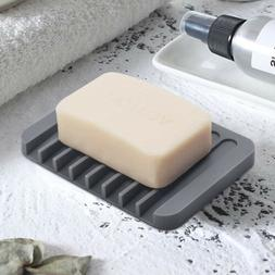 Flexible Bathroom Silicone Soap Dish Storage Holder Soapbox