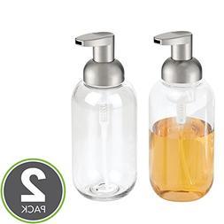 mDesign Foaming Soap Dispenser Pump - Pack of 2, Clear/Brush