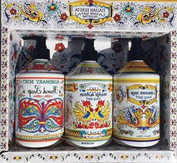 Italian Deruta Hand and Dish Soap 3 Piece Collection - Rosem