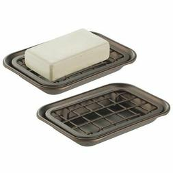 mDesign Kitchen Soap Dish Tray - Drainage Grid & Holder, 2 P