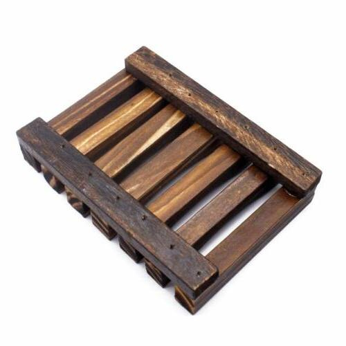 2X Wooden Soap Bath Storage Tray Dispenser Holder