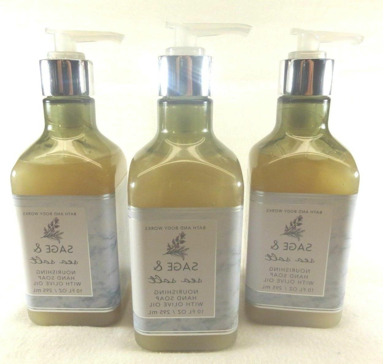 3 Sage & Sea Salt Nourishing Hand Soap With Olive Oil Bath &