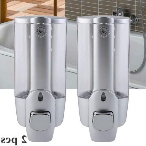 Pair 350ml Wall Mount Soap Dispenser Bathroom Shower Shampoo