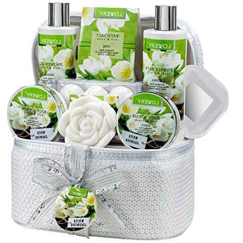 bath gift basket set white