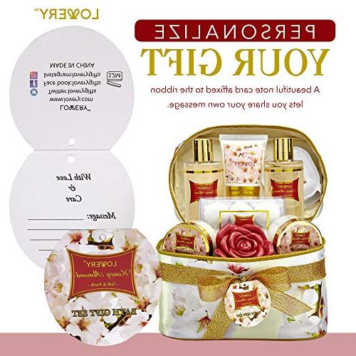 Valentine's Day Gifts Bath Basket Honey Almond Spa Set with 6 Bath Bombs, More - 14 Set
