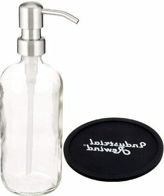 Clear 8oz Glass Soap Dispenser with Stainless Pump - Soap Bo