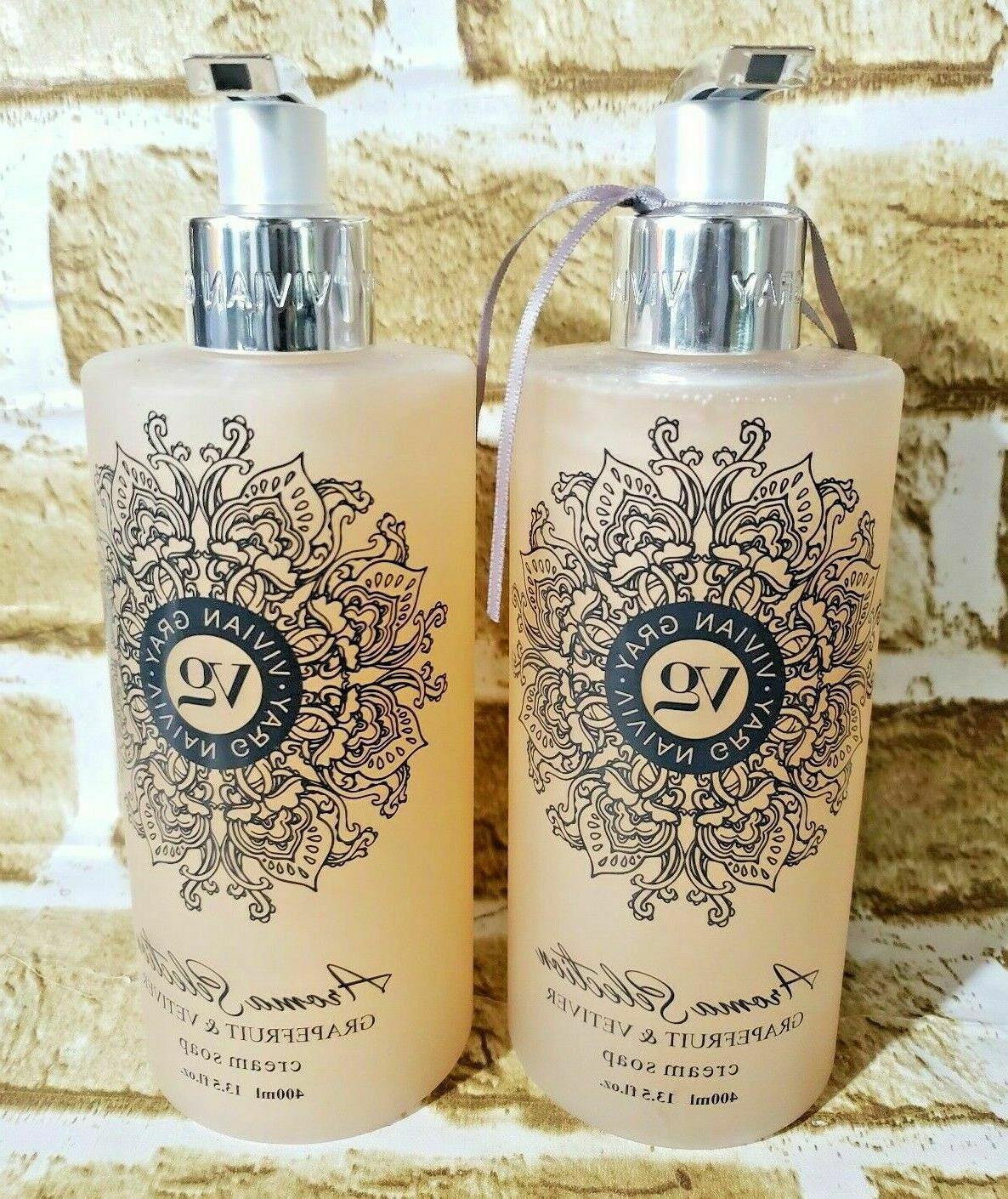 Lot of 2 Vivian Gray Grapefruit & Vetiver Cream Hand Soap 13
