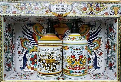 italian deruta hand soap 2pc olive lemon