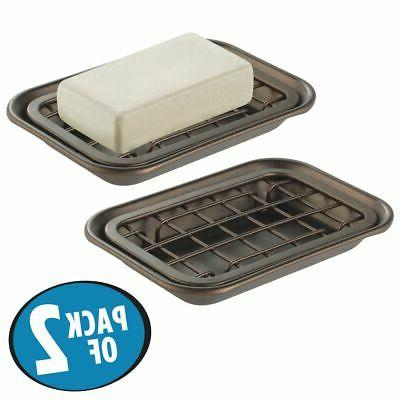mDesign Soap Dish Tray & Holder, Pack