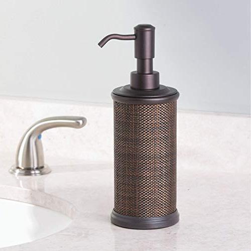 mDesign Metal Liquid Hand Soap Pump Bottle Kitchen, Bathroom Also be Hand Sanitizer Essential - Accent, Pack -
