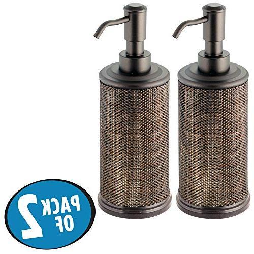 mDesign Round Refillable Liquid Soap Pump Bathroom | be for Sanitizer Essential Oils -