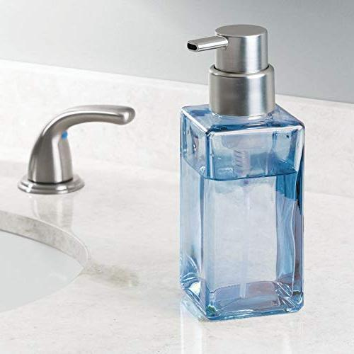 mDesign Square Glass Refillable Foaming Dispenser Bottle Bathroom Sink, Blue/Brushed