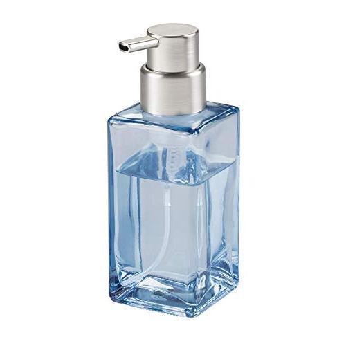 mDesign Modern Square Glass Refillable Dispenser Bathroom Vanities or Kitchen Sink, Countertops Blue/Brushed