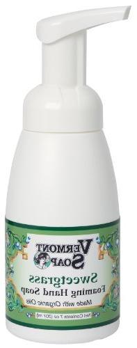 Vermont Soap Organics - Sweetgrass Foaming Hand Soap 7oz Pum