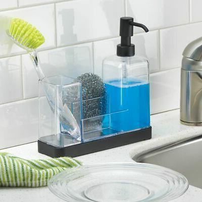 mDesign Plastic Kitchen Dish Soap Sponge Caddy