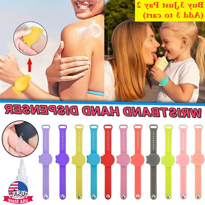 portable silicone bracelet wristband hand soap dispenser