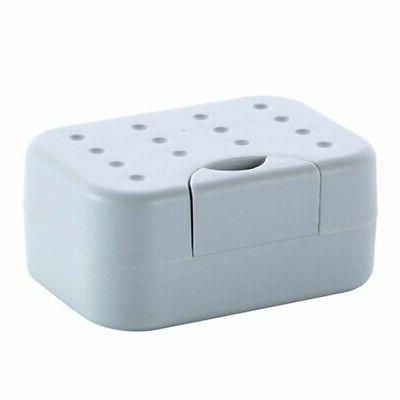 Plastic Soap Dish Box Case Holder Bathroom Shower US