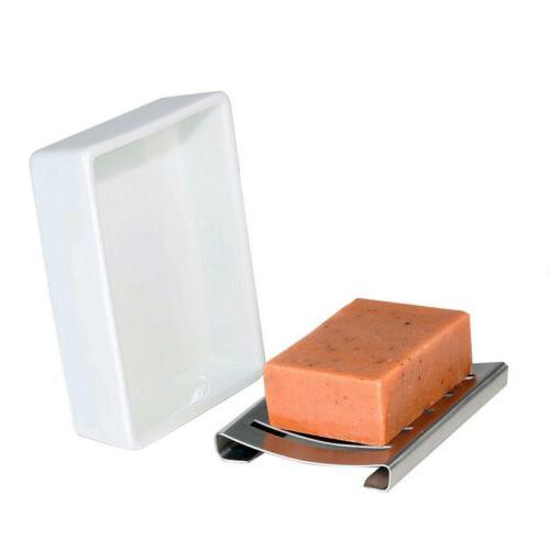 Stainless Steel Dish Holder Ceramic Seat Bathroom