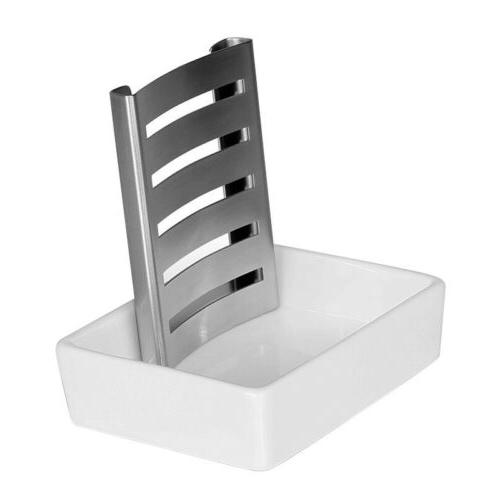 stainless steel soap dish holder with ceramic