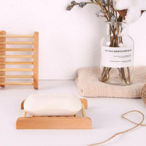 Wooden Bamboo Soap Tray Dish Rack Bathroom Accessories