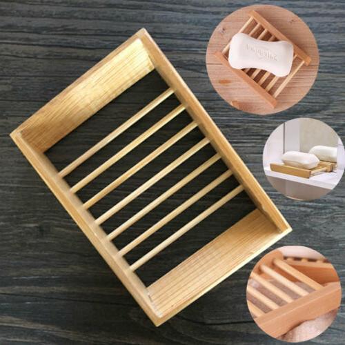 wooden bamboo soap tray dish holder drain