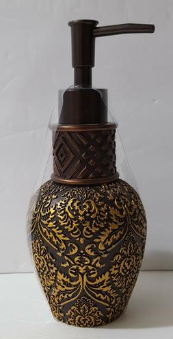 Lotion Pump / Hand Soap Dispenser Bronze with 3D Gold Geomet