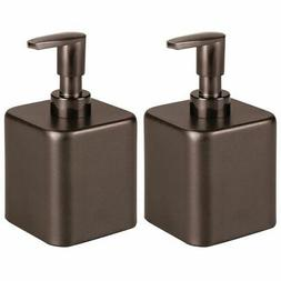 mDesign Small Modern Square Metal Refillable Liquid Hand Soa