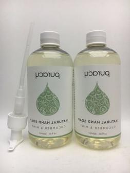 Puracy Natural Liquid Hand Soap w/ Pump 12 oz Cucumber & Min