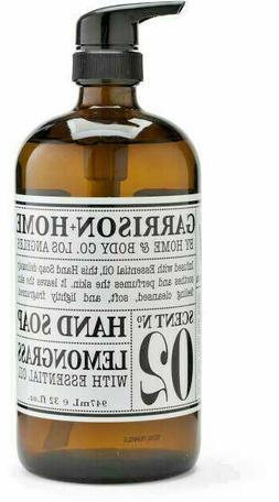 No 02 LEMONGRASS Garrison Home & Body Co GLASS Hand Soap w/