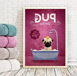 Pug Bath Soap Company Dog Artwork, Animal Artwork, Dog Poste