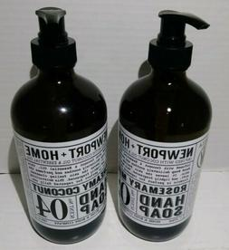 Set of 2 Newport+Home Hand Soap 1 Creamy Coconut & 1 Rosemar