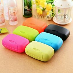Travel Soap Dish Box Case Holder Container Wash Shower Home